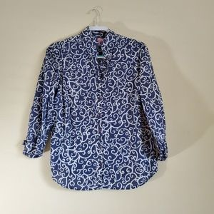 Lilly Pulitzer Blue 3/4 Sleeve Shirt Size 12